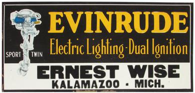 Michigan Evinrude Boat Motor Sign Sells for $1650.00