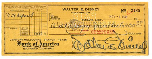 Walt Disney autograph sold for $2,250