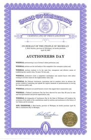 Governor Rick Snyder Issues a Proclamation certificate to Auctioneers